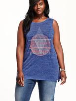 Old Navy Women's Plus High-Neck Graphic Tanks