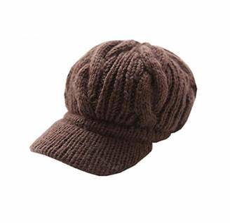 Unicoco Knitting Wool Cap Cap Brown Locomo Women Girl Slouchy Cabled Pattern Knit Beanie Crochet Rib Hat Brim Newsboy Cap Warm Faf026
