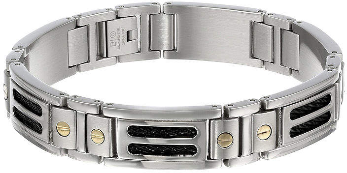 JCPenney FINE JEWELRY Mens 10K Gold, Stainless Steel & Black IP Cable Link Bracelet