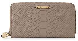 GiGi New York Women's Large Zip Around Python Leather Wallet