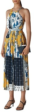 Whistles Pleated Scarf Print Dress