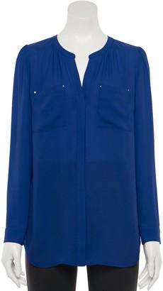 Apt. 9 Women's Shirred Splitneck Tunic Top