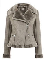 """Oasis FAUX SHEARLING JACKET [span class=""""variation_color_heading""""]- Pale Grey[/span]"""