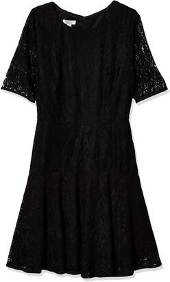 London Times Women's Petite Long Sleeve with Drop Skirt