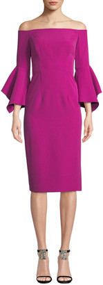 Milly Kendall Italian Cady Off-the-Shoulder Dress