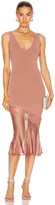 Cushnie Sleeveless V Neck Knit Dress in Rose Gold   FWRD