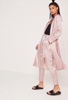 Missguided Premium Silk Stripe Duster Jacket Pink