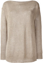 Polo Ralph Lauren ribbed trim jumper - women - Linen/Flax - XS