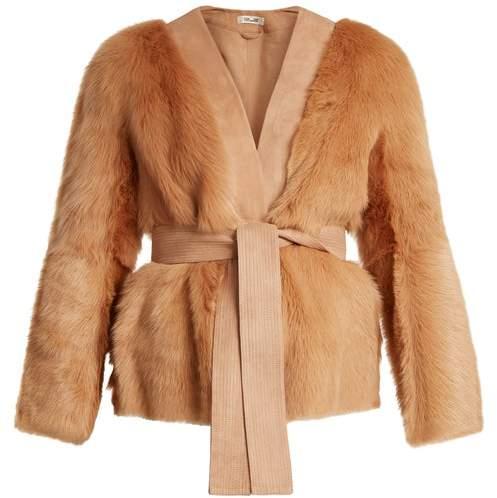 Diane von Furstenberg Suede Trimmed V Neck Shearling Jacket - Womens - Tan