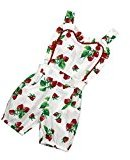 Fheaven Newborn Baby Girls Romper Strawberry Printed Backless Jumpsuit Bodysuit (24M)