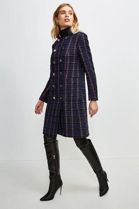 Karen Millen Italian Tweed Military Double Breasted Coat