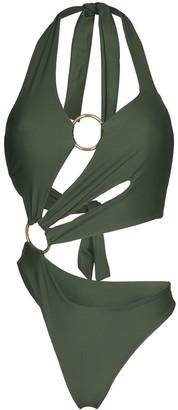 Louisa Ballou Halterneck Cut-Out Swimsuit