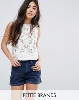 New Look Petite Embroidered Lace Shell Top