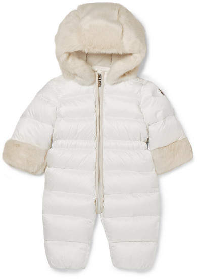 Moncler Months 3 - 12 Ardisie Faux Fur-trimmed Quilted Shell Down Snowsuit