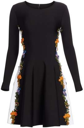 Oscar de la Renta Long Sleeve Floral Side Panel Dress