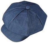ZLS Women's Retro Washed Denim Peaked Newsboy Cap Cabbie Hats