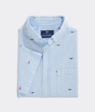 Vineyard Vines Big & Tall Classic Fit Seaplanes Short-Sleeve Murray Button-Down Shirt