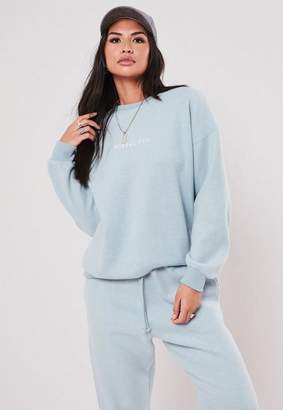 Missguided Tall Blue Co Ord Graphic Brushed Sweatshirt