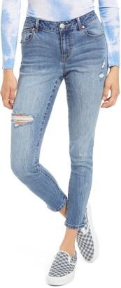 1822 Denim Ripped Organic Cotton Blend Ankle Skinny Jeans