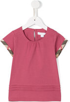 Burberry check and pleat detail T-shirt - kids - Cotton - 6 yrs