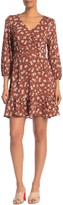 Collective Concepts 3/4 Sleeve Floral Printed V-Neck Dress