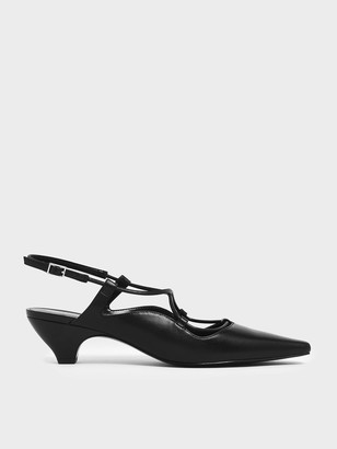 Charles & Keith Criss Cross Slingback Kitten Block Heels