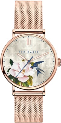 Ted Baker Phylipa Flowers Mesh Strap Watch, 37mm