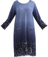 Denim Blue Floral Zip-Pocket Shift Dress - Plus