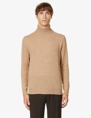 Eleventy Roll-neck marled camel wool jumper