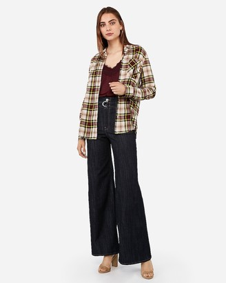 Express Mixed Plaid Boyfriend Flannel Shirt
