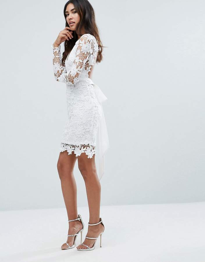Club L Long Sleeve Crochet Dress With Open Back & Tie Bow
