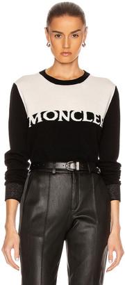 Moncler Girocollo Tricot Sweatshirt in Black   FWRD