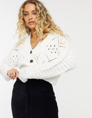 Free People Chloe knit detail cropped cardigan in cream