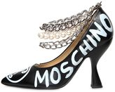 Moschino 100mm Painted Leather Heels W/ Chains