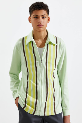 Urban Outfitters Full-Zip Pique Long Sleeve Polo Shirt
