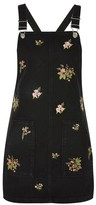Topshop PETITE Floral Embroidered Pinafore Dress