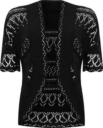 WearAll Plus Size Womens Crochet Knitted Short Sleeve Ladies Shrug Cardigan Top - Black - 20-22