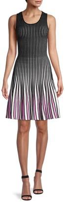 Godet Stripe Knit Dress