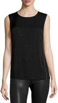 Halston Sleeveless Embellished Top, Black