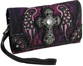Zeckos Moonlight Camo Rhinestone Angel Wing Cross Western Wallet w/Removable Straps
