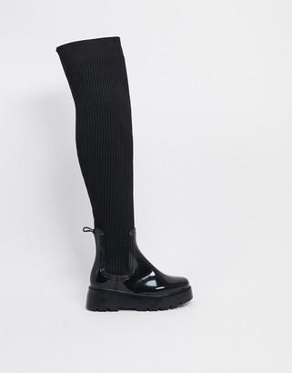 ASOS DESIGN Georgia over the knee wellie boot in black