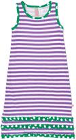 Purple & White Stripe Ruffle Maxi Dress - Infant