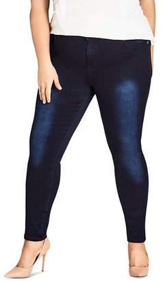 City Chic Plus Asha Skinny Jeans in Dark Denim