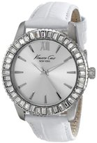 """Kenneth Cole New York Women's KC2849 """"Classic"""" Crystal-Accented Stainless Steel Watch With White Leather Band"""
