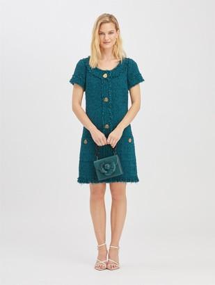 Oscar de la Renta Embroidered Tweed Dress