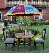 Lal Haveli UML03814 Elegant Elephant Embroidery Work Designer Outdoor Garden Umbrella 52...