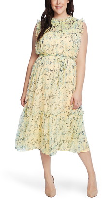 CeCe Wisteria Vines Sleeveless Midi Dress