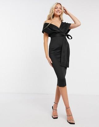 ASOS DESIGN bardot fallen shoulder midi dress with self tie belt in black