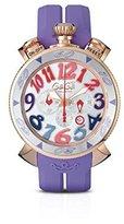 GaGa MILANO Women's 48mm Purple Rubber Band Rose Gold Plated Case Quartz -Tone Dial Watch 6056.9
