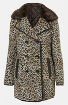'Karin' Faux Leopard Fur Coat